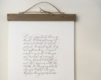 Corinthians wedding reading - Love is patient, love is kind - high quality calligraphy print of a favourite wedding poem