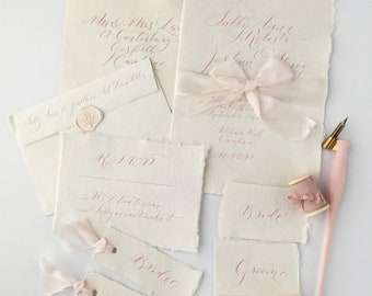 Bespoke wedding calligraphy bundle - blush pink calligraphy ink and handmade papers with wax seal and silk ribbon
