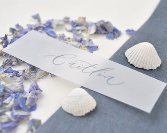 Elegant wedding place names - quality vellum paper with grey handwritten calligraphy
