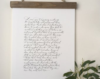 Love is a temporary madness - high quality calligraphy print of a favourite wedding poem - Captain Corelli's Mandolin extract