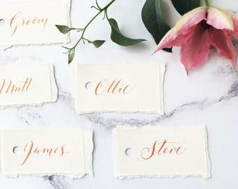Wedding place names, place cards, calligraphy names, place setting cards, torn paper with rose gold ink