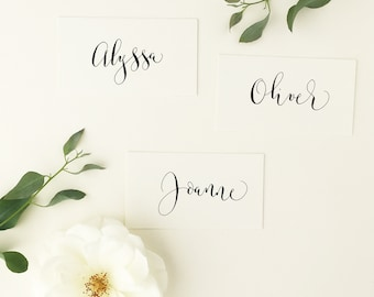 First names only - basic modern calligraphy place names for weddings / handwritten / shabby chic / personalised / calligraphy service UK