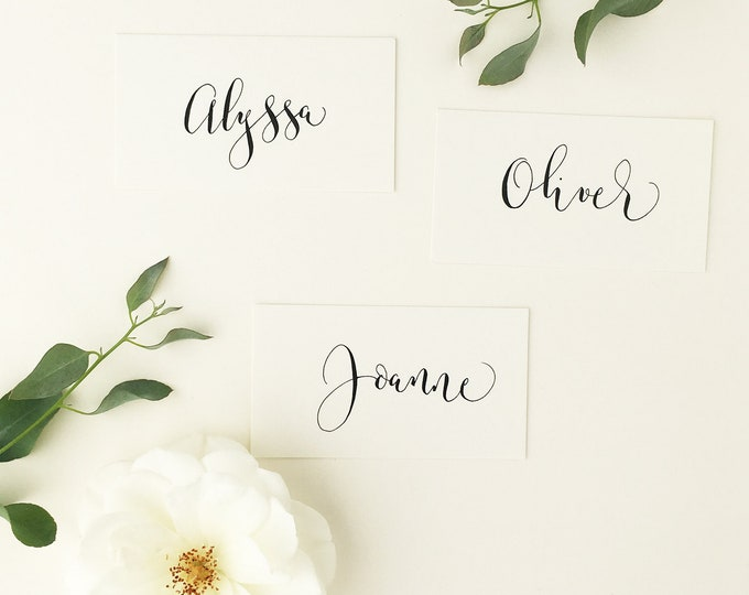 Featured listing image: First names only - basic modern calligraphy place names for weddings / handwritten / shabby chic / personalised / calligraphy service UK