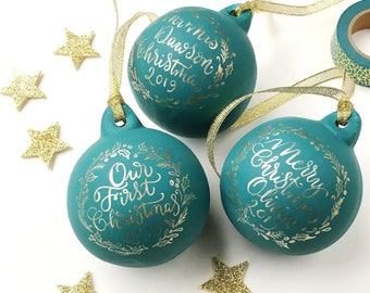 Personalised bauble with calligraphy / handmade bauble / special Christmas bauble / first Christmas bauble