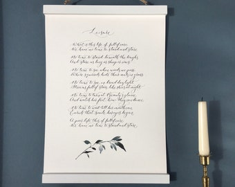 Leisure poem by William Henry Davies - printable PDF from handwritten calligraphy for you to download and print at home (frame not included)