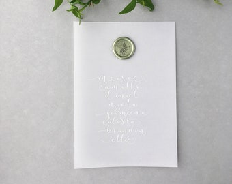 Sheer vellum wedding table plan cards with white ink - vellum table plan - translucent seating plan - wedding calligraphy