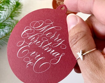 Personalised bauble shaped Christmas gift tag