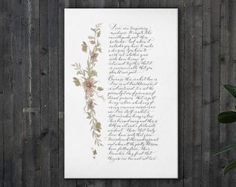 Captain Corelli's Mandolin extract on canvas, wedding reading, poetry print, wedding poem print