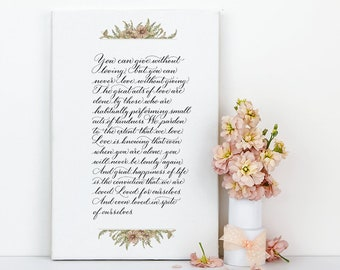 Extract from Les Miserables by Victor Hugo, canvas print, calligraphy print, poetry print, wedding reading