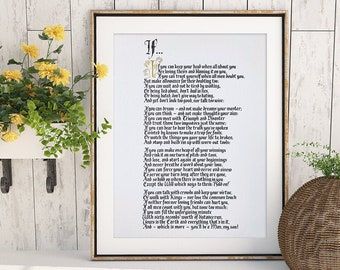 Rudyard Kipling's 'If' poem in calligraphy UNFRAMED print, hand finished wall art