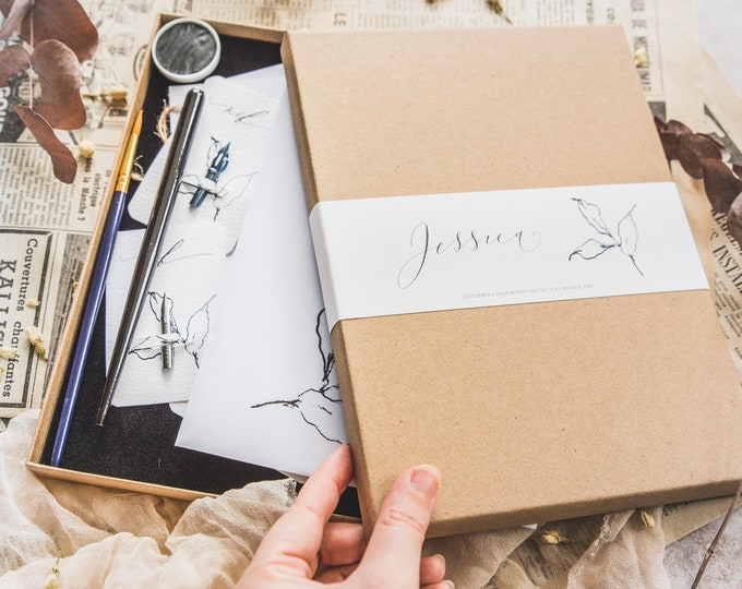 Featured listing image: Letterbox calligraphy gift set / modern calligraphy set with 100+ printable worksheets to download