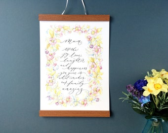 Personalised Mothers Day print in hand calligraphy with beautiful floral illustration (unframed)