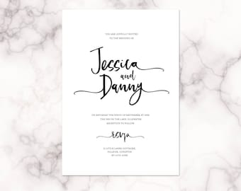 Letter lovers - calligraphy style wedding invitations with matching accessories