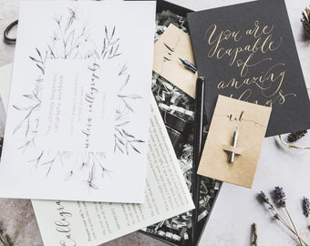 The ULTIMATE modern calligraphy kit! Learn modern calligraphy in just 7 days with 100+ pages of PRINTABLE worksheets when you buy this kit
