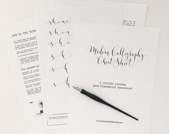 Calligraphy CHEAT SHEET 7 of 9: Joining letters / Instant download calligraphy worksheets, learn calligraphy, modern calligraphy