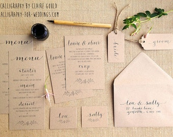 Kraft & calligraphy wedding invites - also available: Save the Dates, tags and matching stationery