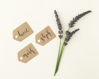 Tiny rustic luggage tags with calligraphy / wedding place cards / wedding name tags / place cards / small kraft tags for place settings