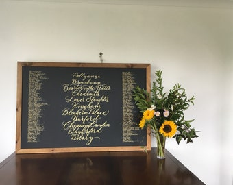 Chalkboard wedding table plan in calligraphy / seating plan / blackboard