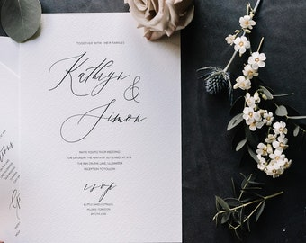 Elegant and simple minimal calligraphy style wedding invitations