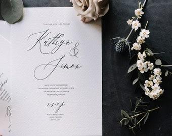 Elegant and simple minimal calligraphy style wedding invitations