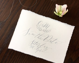 Boho luxe calligraphy Save the Date with grey ink