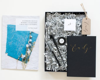 Beautiful modern calligraphy starter set with full colour guide book and personalised journal