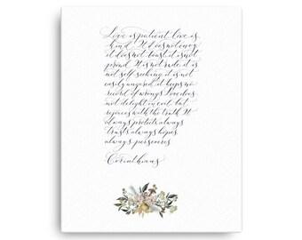 Corinthians wedding extract, wedding reading print, bible reading, wedding poem, wedding gift