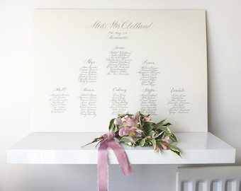 Elegant fine art calligraphy wedding table plan