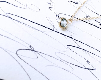 With eyes like the sea... exquisite washed blue pendant necklace on gold chain with gift box