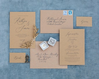 Rustic elegant wedding invitations / sustainable recycled wedding invitations with envelopes