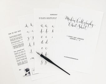 Calligraphy CHEAT SHEET 1 of 9: Lower case letters a to m / Instant download calligraphy worksheets, learn calligraphy, modern calligraphy