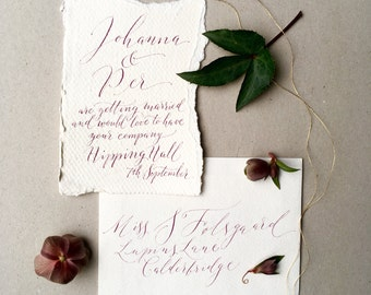 Boho luxe cotton rag calligraphy wedding invitation