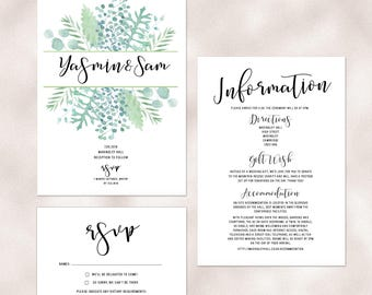 Botanical boho wedding invitations with garden leaf design and matching accessories