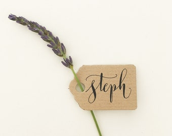 Custom listing for Gail - Tiny rustic luggage tags with calligraphy first names on front and table number on reverse