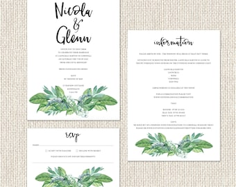 Vibrant, botanical wedding invitations with calligraphy font and matching accessories