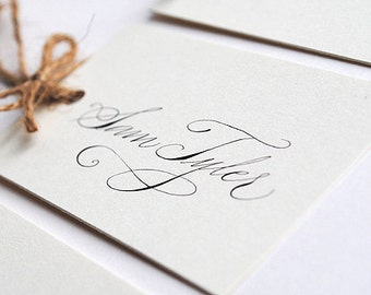 Calligraphy wedding place names in luxe fine art calligraphy - off white place names - ivory place cards - handwritten place settings