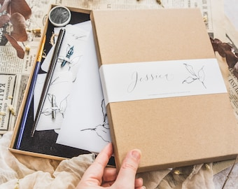 Letterbox calligraphy gift set / modern calligraphy set with 100+ printable worksheets to download