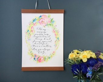 Personalised Mothers Day print with spring floral wreath and hand calligraphy (unframed)