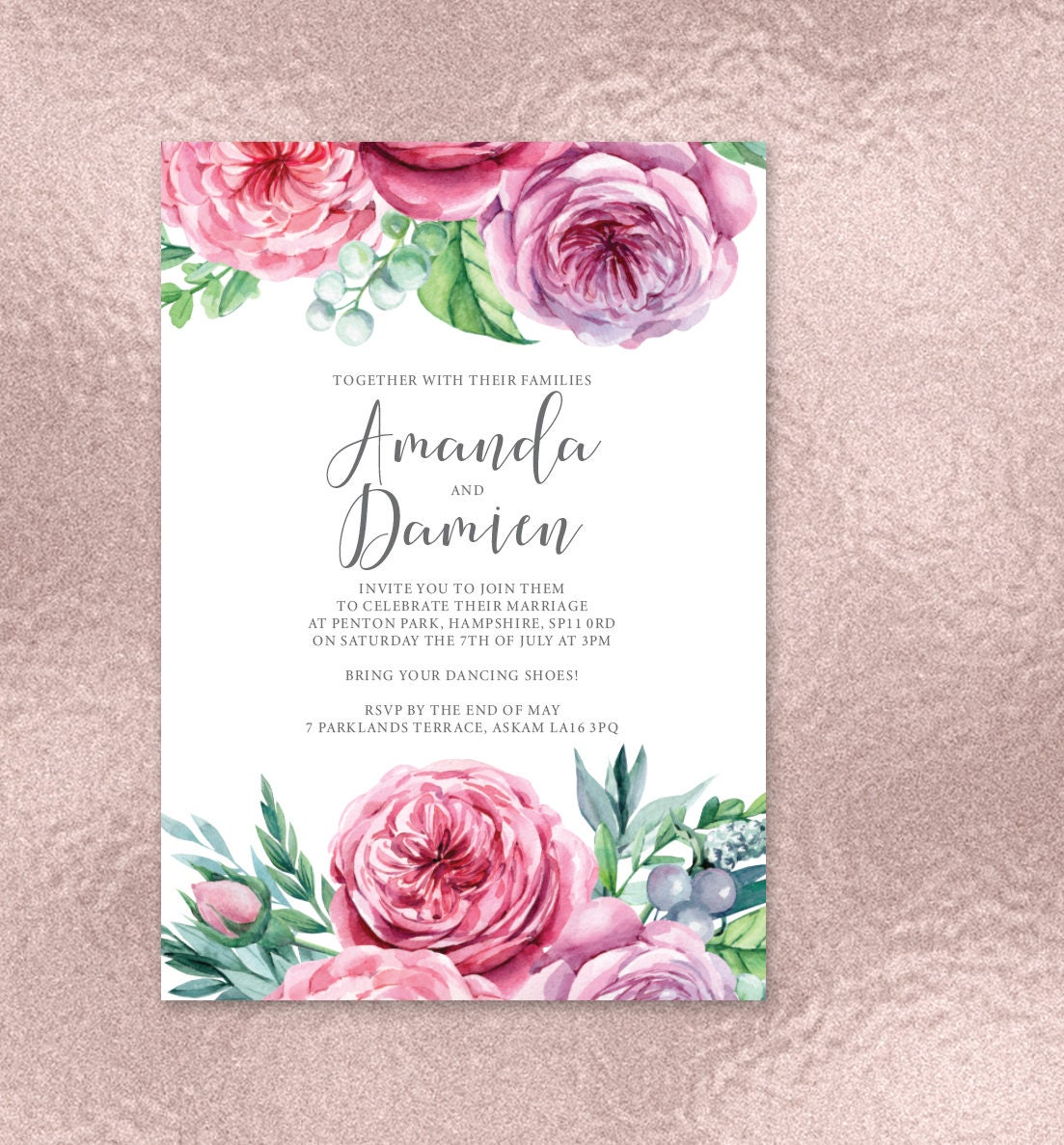 Gorgeously floral wedding invitations with English Country Garden ...