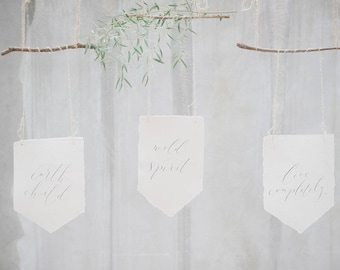 Handcrafted modern calligraphy pennants - wedding pennants - wall pennants for home decor