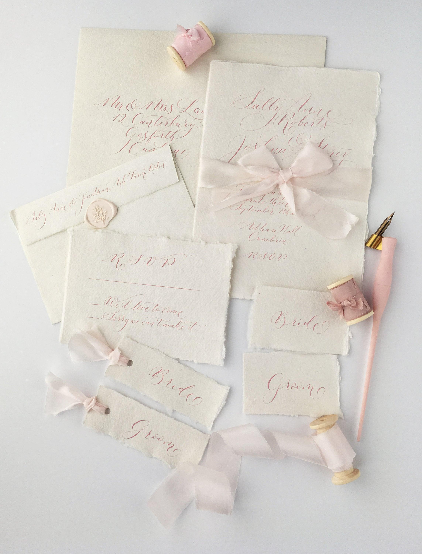 Bespoke wedding calligraphy bundle - blush pink calligraphy