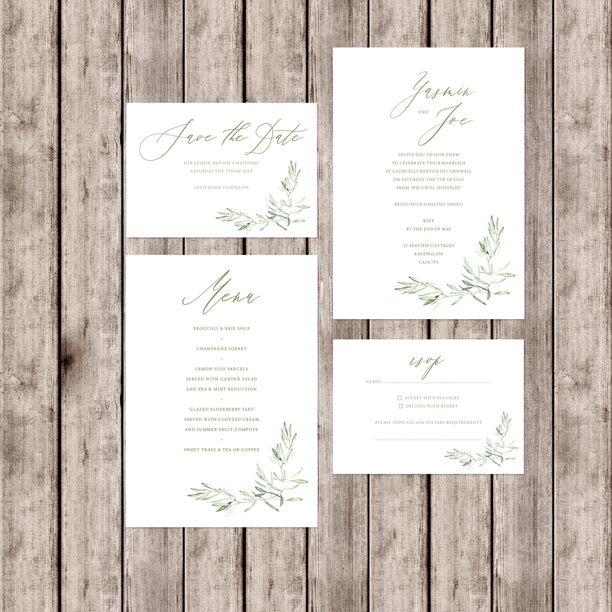 Artisan style \'Tuscany\' wedding invitations with olive branch detail ...