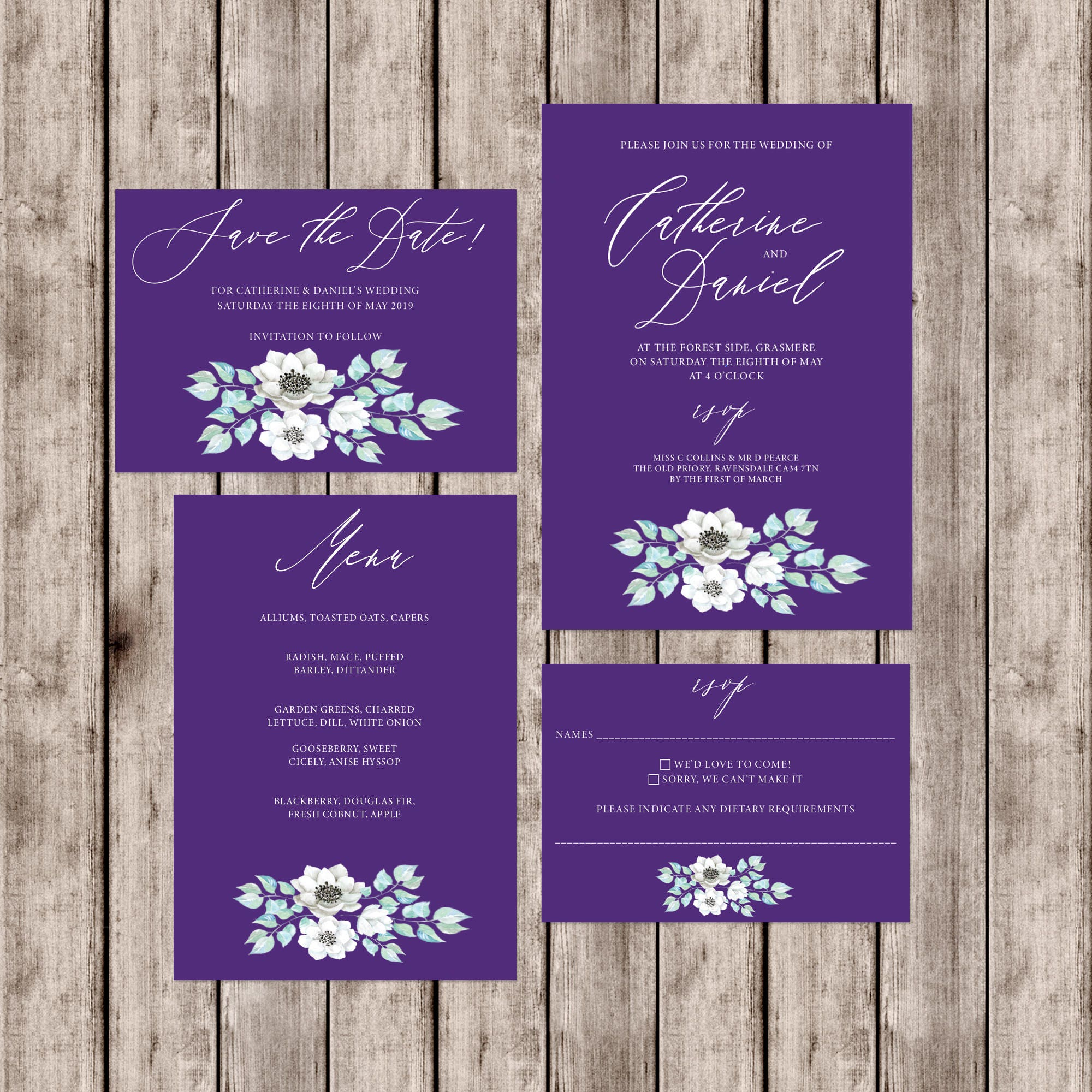 Ultraviolet wedding invitations with floral print and matching