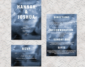 Storm - dark modern personalised wedding invitations with matching accessories