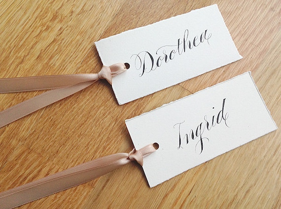 hand lettered modern calligraphy on luggage tags with hand dyed 100/% silk ribbon Place cards EARTH range
