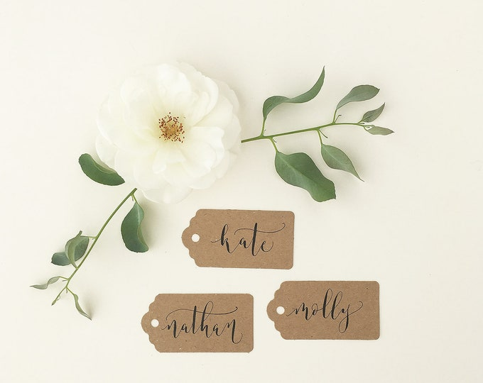 Featured listing image: Affordable rustic luggage tags with calligraphy / wedding place cards / wedding name tags / place cards / kraft tags for place settings