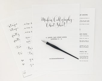 Calligraphy CHEAT SHEET 4 of 9: Lower case words n - z / Instant download calligraphy worksheets, learn calligraphy, modern calligraphy