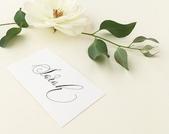 Flat white wedding place names with flourished modern calligraphy in black ink / place cards / personalised name cards for weddings