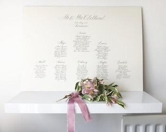 Elegant fine art calligraphy wedding table plan