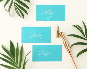 Vibrant, tropical aqua blue wedding place names with hand calligraphy in white ink / escort cards / place cards / personalised name cards